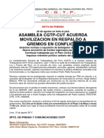 Nota de Prensa sobre Convocatoria CGTP-CUT Perú a Movilización Nacional Sindical y Popular
