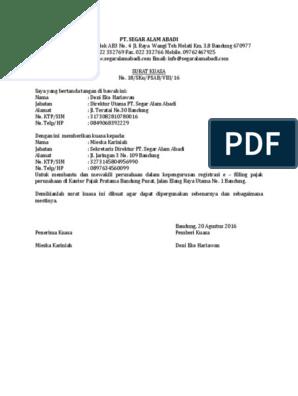 Contoh Surat Kuasa Perusahaan Untuk Mengurus Pajak
