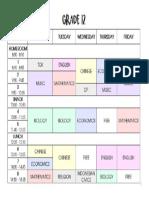 Grade 12 Schedule