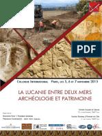 Programme Colloque Lucanie Antique