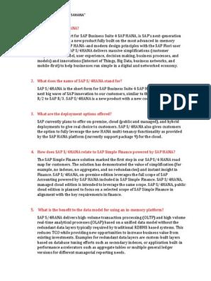 Interview Questions for s4HANA  Docx | Sap Se | Cloud Computing