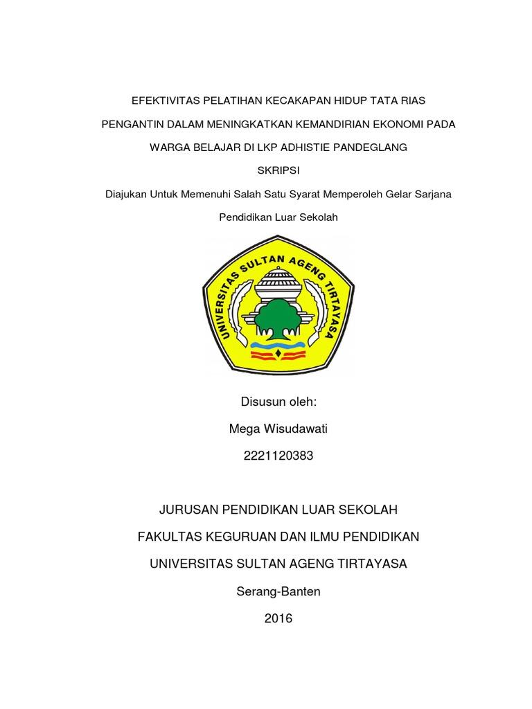 Efektivitas Pelatihan Kecakapan Hidup Tata Rias Pengantin Dalam  Meningkatkan Kemandirian Ekonomi 4b08200ab5