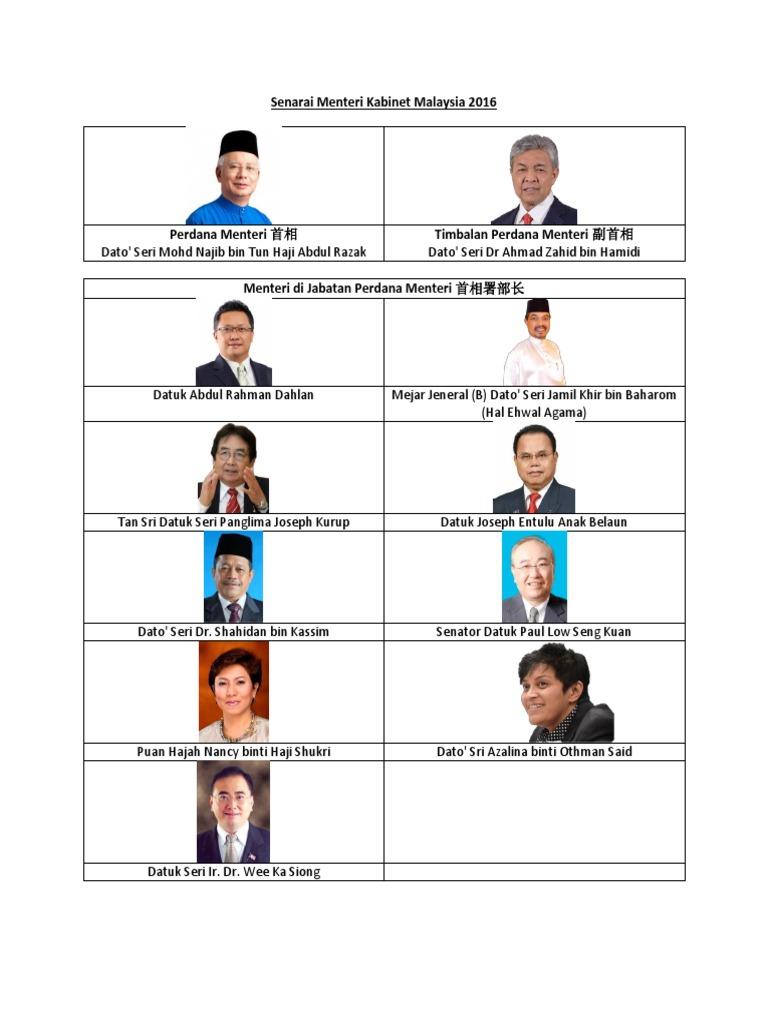 Senarai Menteri Kabinet Malaysia 2017