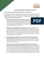 Quick Response Cyberattack Checklist OCR Cyber Attack Checklist 06 2017