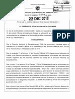 Decreto 2108 Del 22 de Diciembre de 2016 Direccion Nacional de Estupefacientes