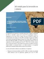 Incentivos Del Estado Para La Inversión en Exploración Minera