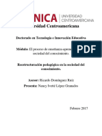 Proceso Enseñanza y Aprendizaje en Las Sociedades Del Conocimiento