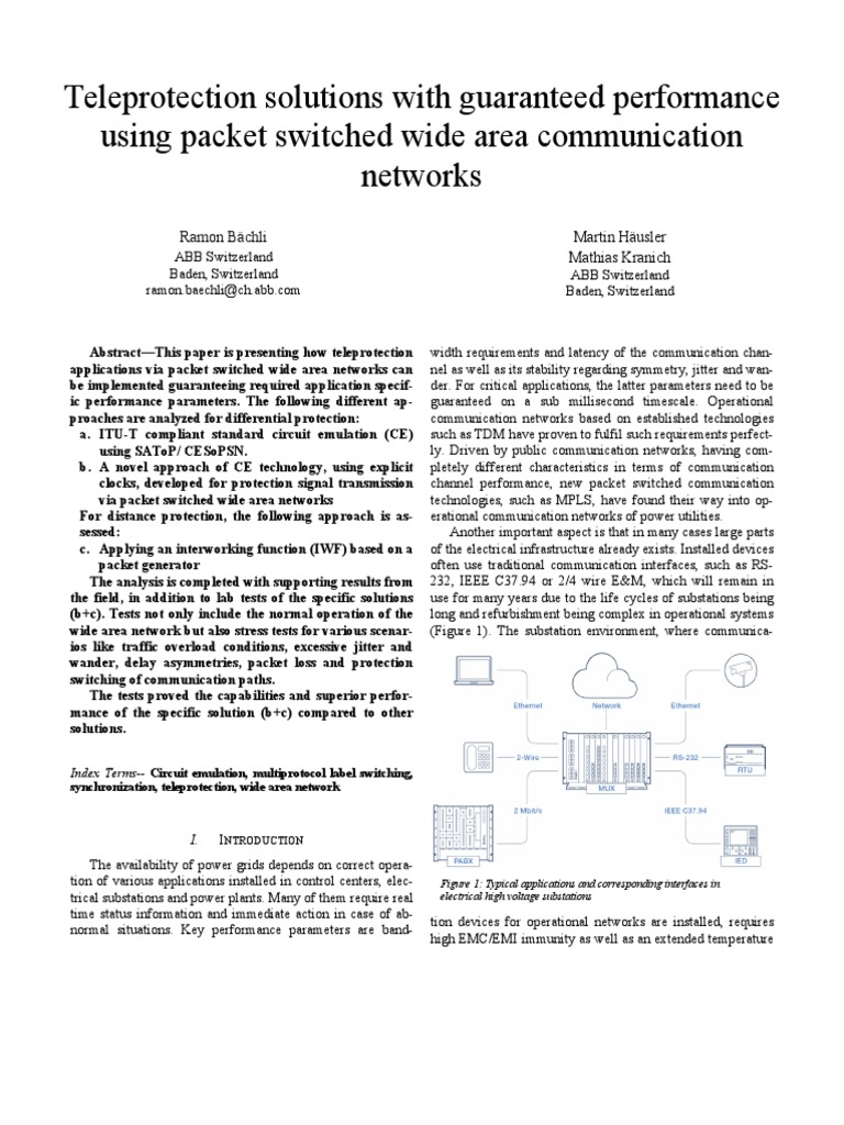 teleprotection solutions with guaranteed performance using packetteleprotection solutions with guaranteed performance using packet switched wide area communication networks computer network telecommunication
