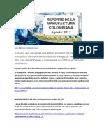 Reporte de la manufactura Colombiana Agosto 2017