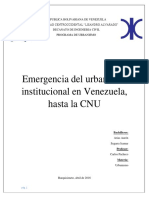 Emergencia Del Urbanismo en Venezuela