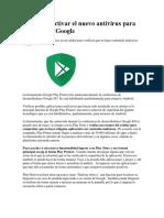 Así Puede Activar El Nuevo Antivirus Para Android de Google