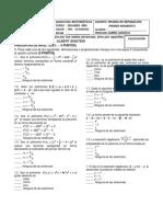Prueba de Reparación - Math SEGUNDO AÑO - GRADO OCTAVO