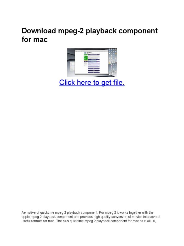 mpeg playback component mac free
