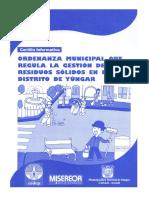 Ordenanza Municipal que regula  la Gestión de los Residuos Solidos en el distrito de Yungar