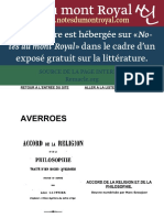 Averroes. Accord de La Religion Et de La Philosophie