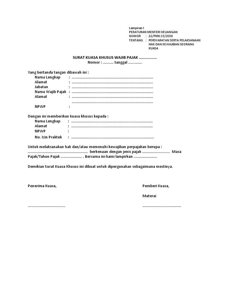 Surat Kuasa Khusus Dan Surat Penunjukan Pajak