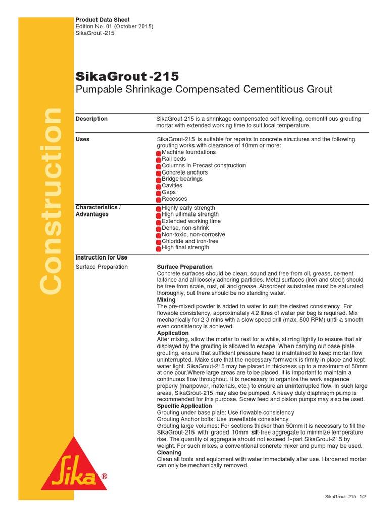 SikaGrout®-215 | Mortar (Masonry) | Concrete
