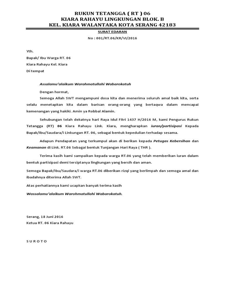 Contoh Surat Edaran Rt 06 Kiara Rahayu