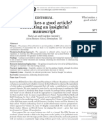 What Makes a Good Article in European Journal of Marketing