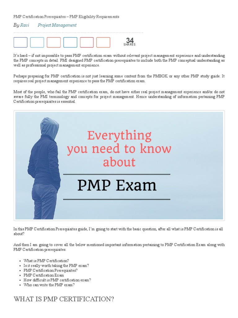 Pmp Certification Prerequisites Pmp Eligibility Requirements