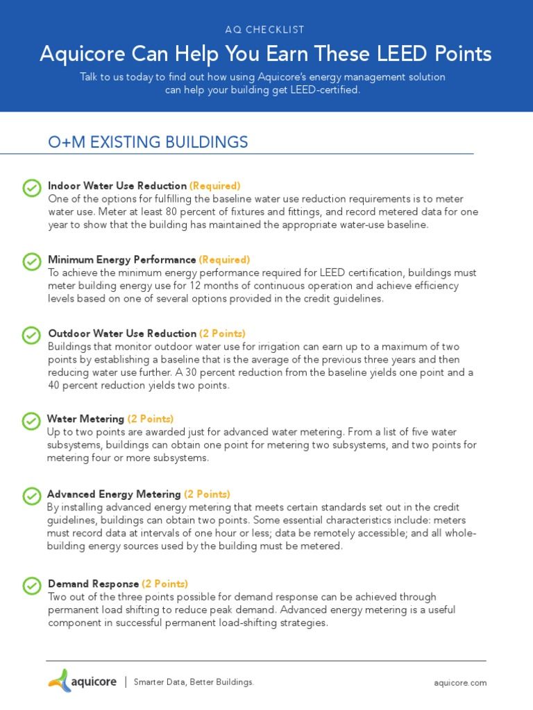 Aq Leed Points Checklist Leadership In Energy And Environmental