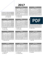 2017 Excel Yearly Calendar 25