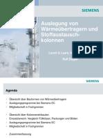 Siemens - Auslegung Von Waermeuebertragern Und Stoffaustauschkolonnen