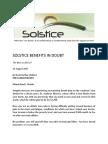 Solstice Healthcare Benefits in Doubt