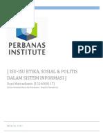 Isu-Isu Etika, Sosial & Politis Dalam Sistem Informasi-dani Marendianto