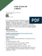 Como Calcular La Tasa de Descuento WACC