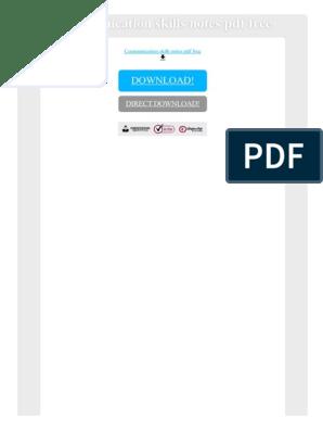 Communication Skills Notes PDF Free | Lecture | Communication
