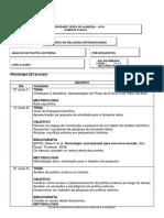 Plano de Aula Análise de Política Externa 2017.2 2a Feira Manhã