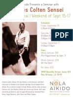 Charles Colten Sensei at NOLA Aikido September 2017 Flyer