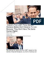 Ireland's First LGBT Prime Minister Declares Babies Don't Deserve to Live Because 'They Don't Have the Same Human Rights