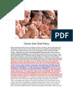 China's One Child Policy, Etc.