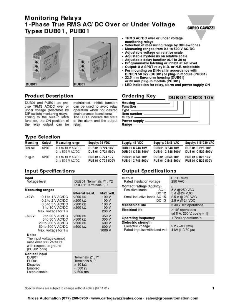 DUB01CBengpdf Relay Power Supply