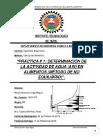 Reporte #1 Determinacion de La Actividad de Agua (Aw) en Alimentos