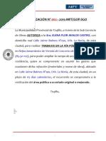 AUTORIZACIÓN N° 001-2015-MPT Exp. 11840-15