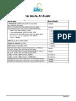 Lista de Material Usina- ARAUJO