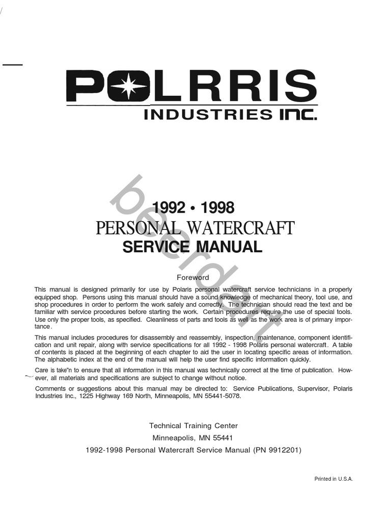235155916 polaris pwc 1992 1998 factory service manual carburetor rh scribd com 1999 polaris sltx 1050 repair manual 1999 polaris sltx 1050 owners manual