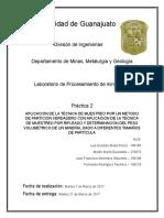 APLICACIÓN DE LA TÉCNICA DE MUESTREO POR UN MÉTODO DE PARTICIÓN VERDADERO CON APLICACIÓN DE LA TÉCNICA DE MUESTREO POR RIFLEADO Y DETERMINACIÓN DEL PESO VOLUMÉTRICO DE UN MINERAL DADO A DIFERENTES TAMAÑOS DE PARTÍCULA