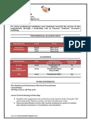 Fresher Chartered Accountant Resume Sample Doc Accounting