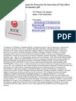 Formulacion Y Evaluacion de Proyectos de Inversion (5ª Ed)