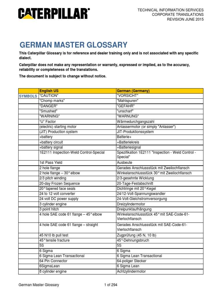 Caterpillar Master Glossary German   Mechanical Engineering ...