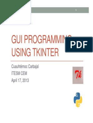 GUI Programming using Tkinter pdf