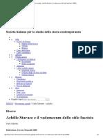 Carlo Galeotti – Achille Starace e Il Vademecum Dello Stile Fascista