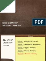 IGCSE Chemistry Section 5 Lesson 4