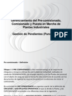 Punch List- Pre Comisionado - Gestión de Pendientes