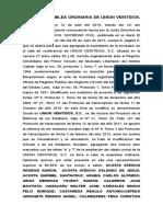 Acta de Asamblea Ordinaria Del 12 de Julio 2014