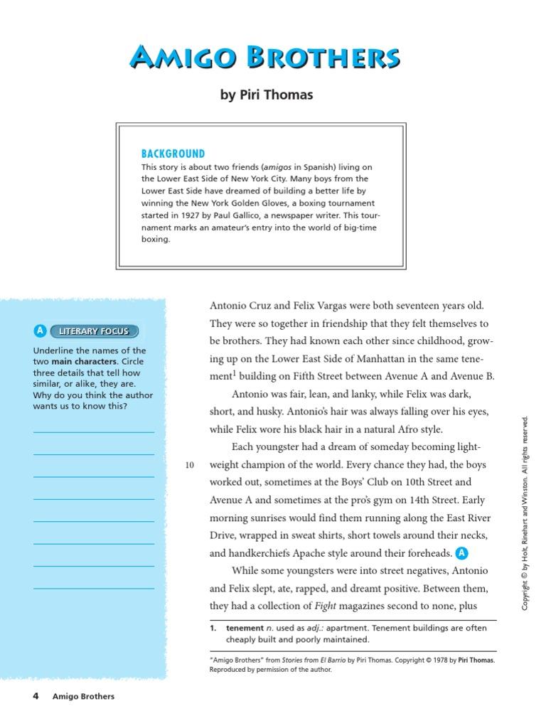 Amigo+Brothers+Story - Piri Thomas.pdf | Sports | Leisure
